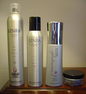 Kenra Platinum Blow-Dry Spray, Clear Paste 20, Volume Mousse Extra 17 and Volume Spray 25 hair products.jpeg