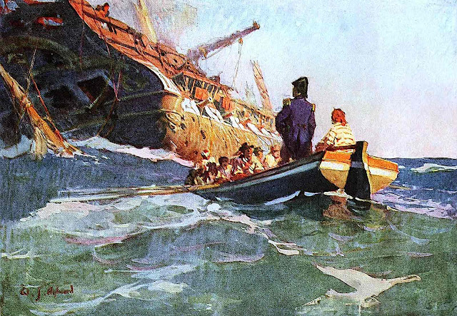 a William J. Aylward illustration of a captain and crew rowing to an empty wreck