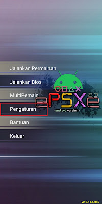 Jika sudah, Sobat klik Pengaturan pada aplikasi Epsxe.