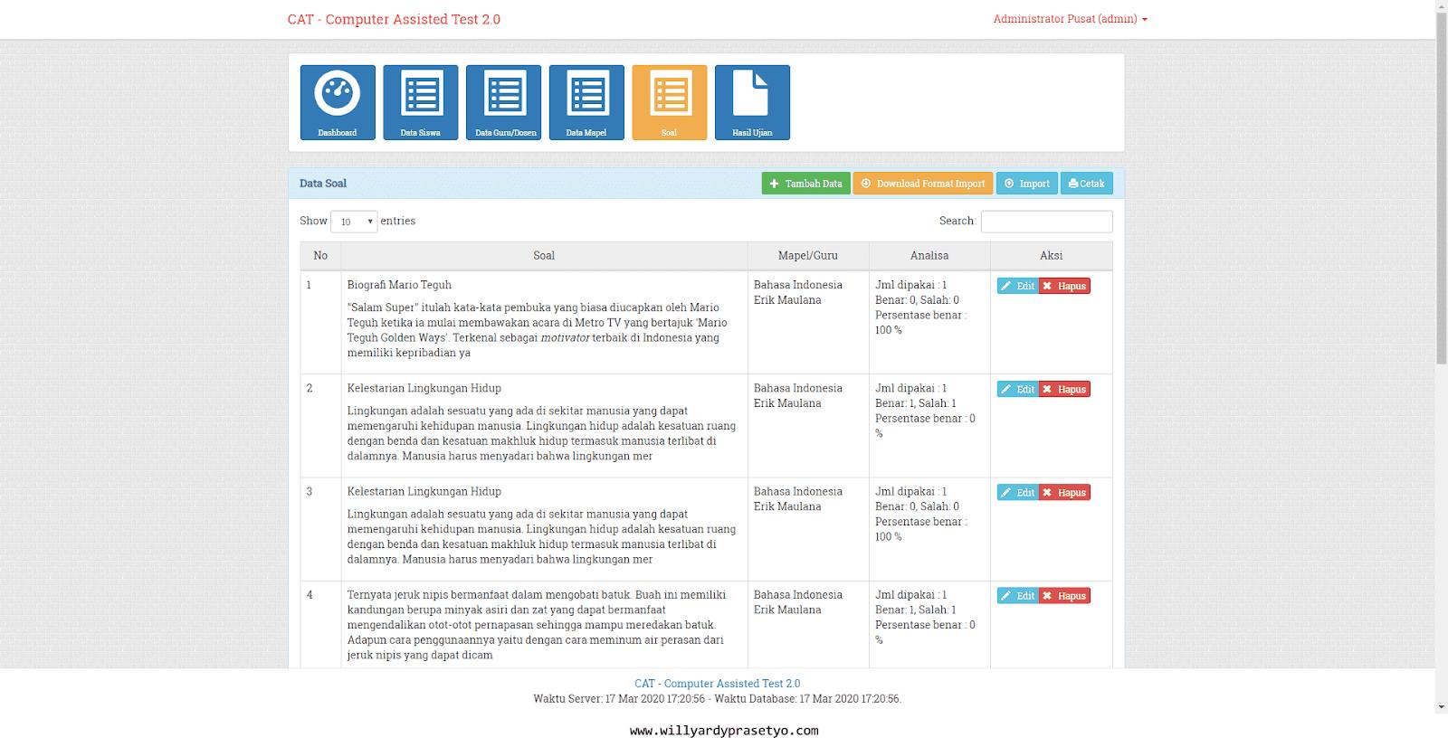 Aplikasi Ujian CAT Berbasis Web (Codeigniter)