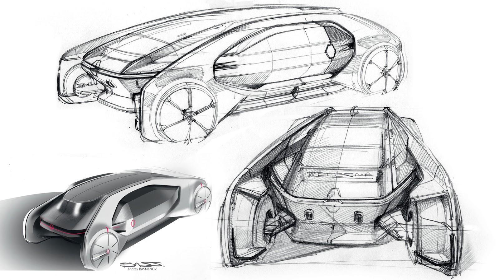 Renault EZ-GO Concept sketch by Andrey Basmanov