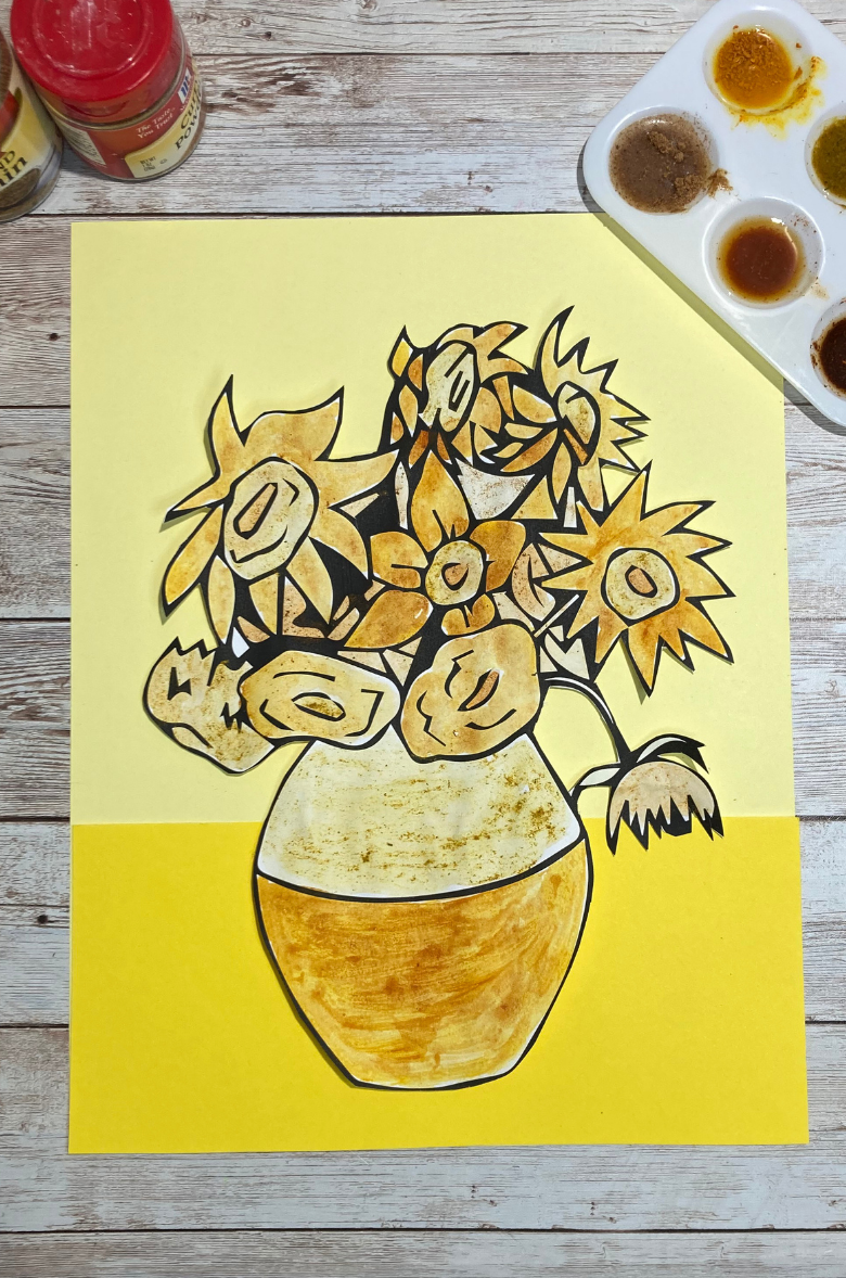 Van Gogh flower painting with spices