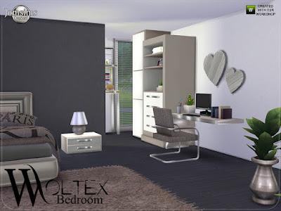 Woltex bedroom Woltex спальня для The Sims 4 1 современная двуспальная кровать в 3 цветах. 1 торцевой столик для кровати в 3 цветах. 1 стол красоты с декоративной косметикой и аксессуаром красоты стола металлической текстуры и найден в категории en таблицы. 1 комод современный с деко в 3 цветах.1 декоративные подушки и одеяло для кровати 3 цвета текстурированные.1 декоративные подушки и одеяло для кровати светлые текстурированные и окрашенные в 4 цвета. одеяла и подушки деко найдены в рубрике РУГС. 1 дизайнерский стол в 3 цветах. 1 кресло в 3 цветах. 1 диван современный в 3 цветах. и 1 металлический камин. современность и очень теплая конструкци Автор: jomsims