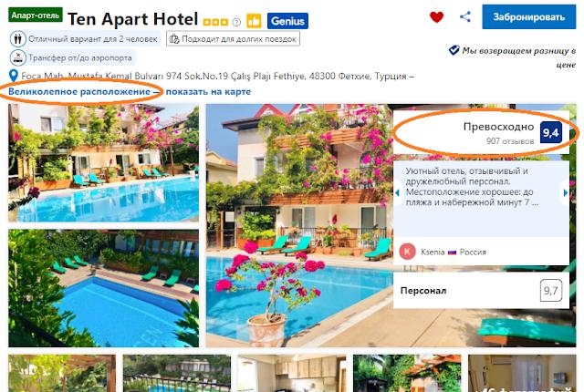 Согласно информации на booking.com, отель Ten Apart Hotel имеет хорошие оценки гостей. 9,4 балла из 10 возможных. И гости отеля отмечают, что отель имеет хорошее месторасположение