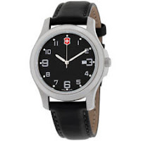 Victorinox Garrison Elegance Black Dial Leather Strap Men's Watch