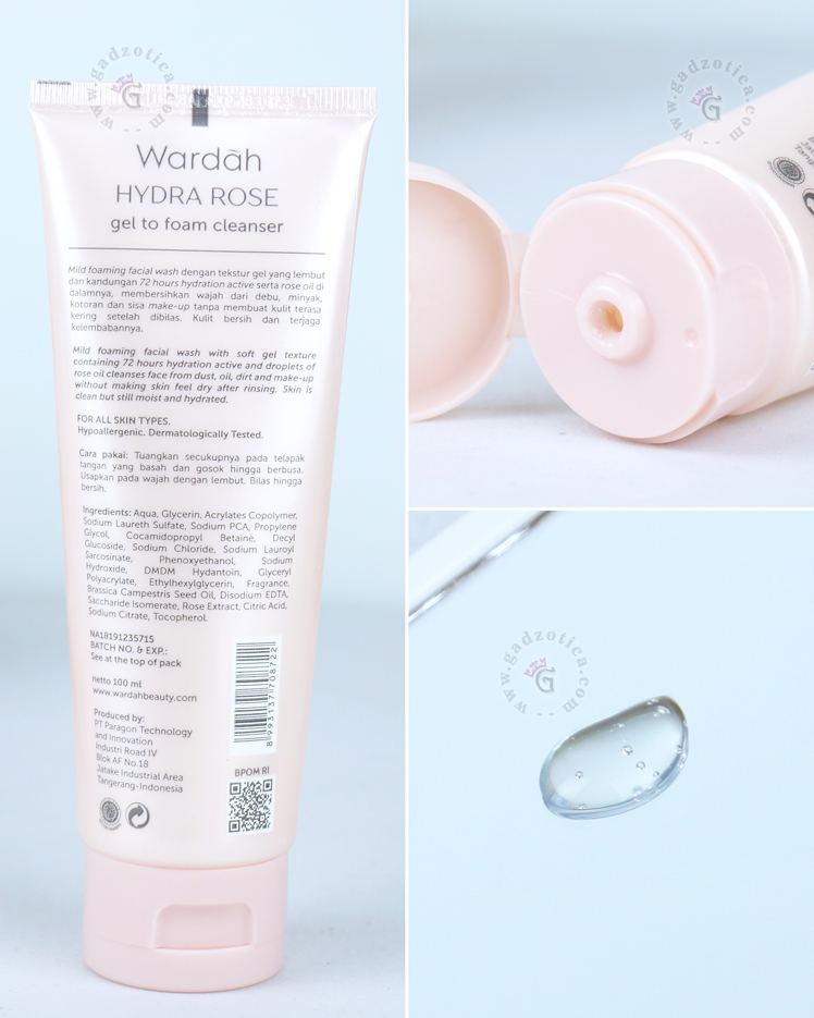 Review Wardah Hydra Rose Gel To Foam Cleanser