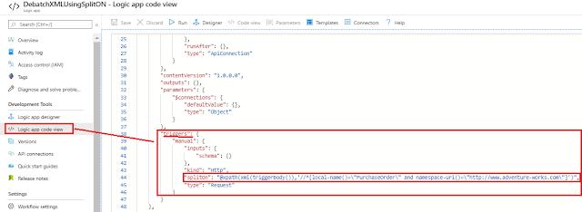 Spliton property in logic app code view