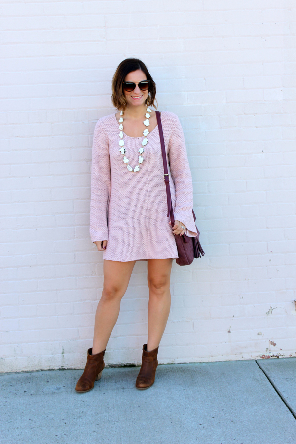 sweater dress, brown ankle boots