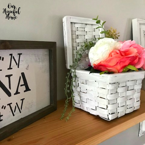 DIY map coordinates sign painted basket pink peonies