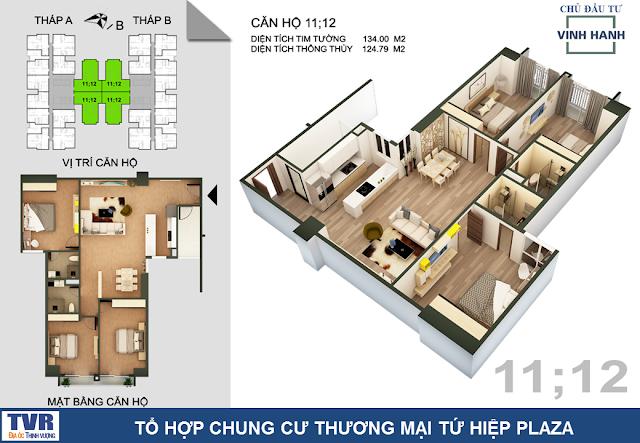 Thiết kế căn hộ 11 và 12, diện tích 124m2 thông thủy (03 phòng ngủ)