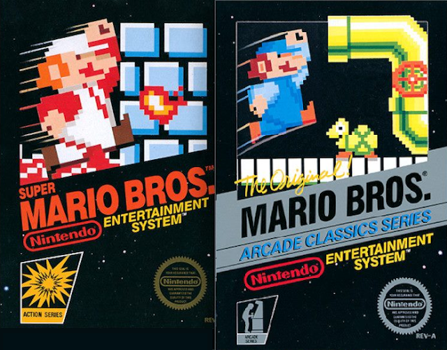 Nintendo Entertainment System NES box arts Super Mario Bros. arcade 1986 1985