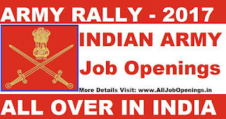 Indian Army Recruitment Rally 2017 - Apply Online For Soldier GD,Soldier Clerk, Tradesman & Various post
