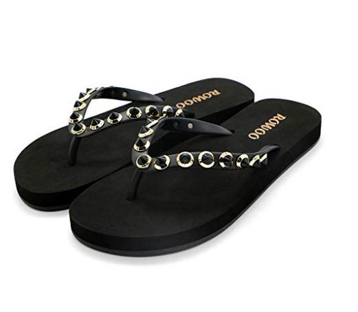 ONEHOO Women Flip Flops Rivet Beach Summer Flat Thong Wedding Sandals