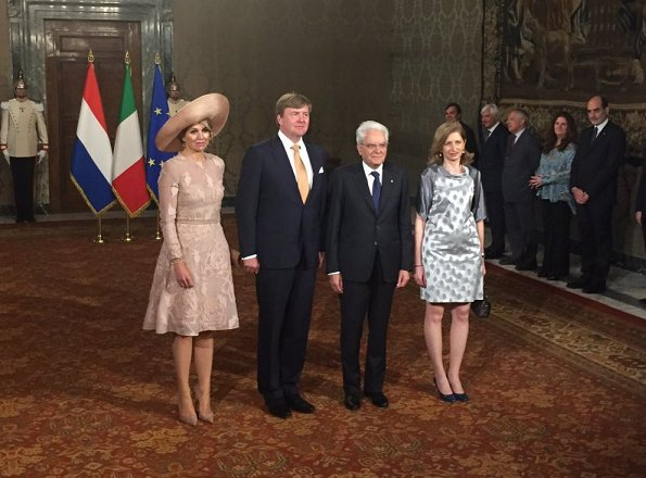 Italy's President Mr. S. Mattarella and Mrs Laura Mattarella (Daughter of the President). Queen Maxima wore a Natan branded dress again which is her favorite brand