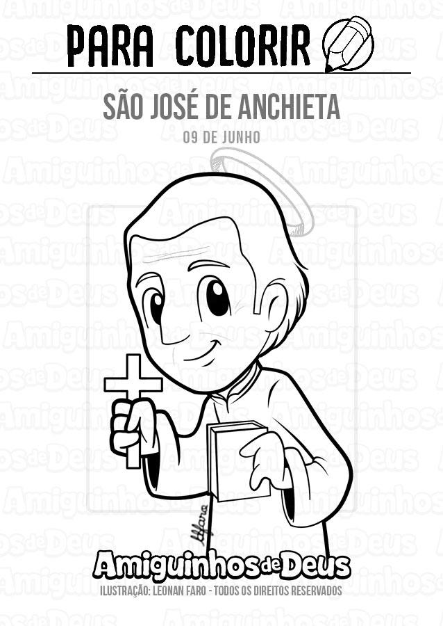 São José de Anchieta desenho para colorir