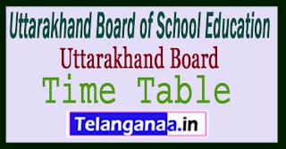 Uttarakhand 12th Time Table 2018