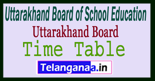 Uttarakhand 12th Time Table