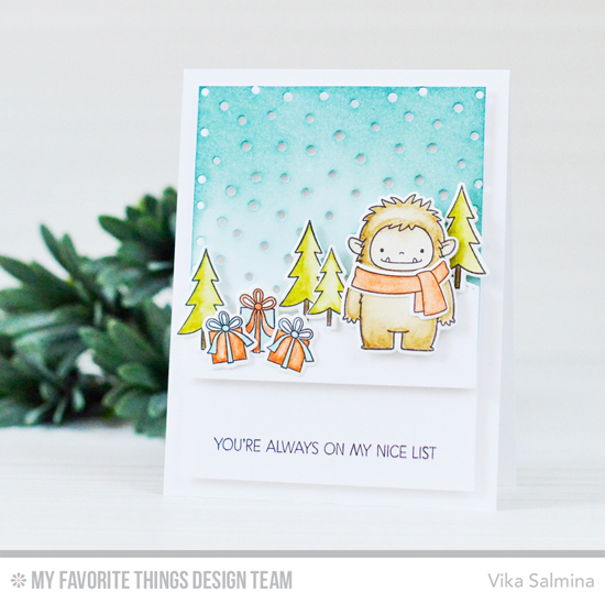 Handmade card from Vika Salmina featuring Birdie Brown Beast Friends stamp set and Die-namics, Snowfall - Vertical and Stitched Snow Drifts Die-namics #mftstamps