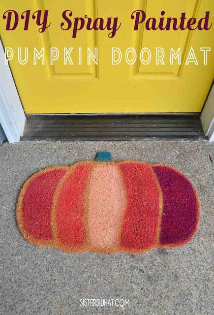 DIY Spray Painted Pumpkin doormat