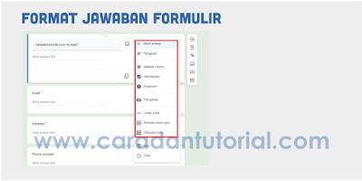 Format jawaban dari google form