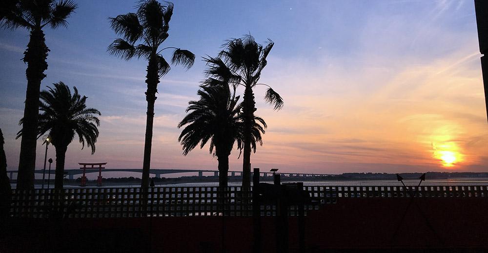 埋立地である弁天島に立地するホテル・ザ・オーシャンから浜名湖南部を望めば遠く今切口に架かる浜名大橋、左には弁財天伝説に因むモニュメントの赤鳥居も見える(2016年12月18日撮影)