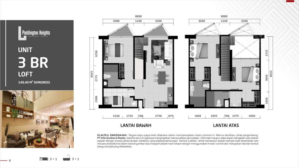 Denah Paddington Heights Tipe 3BR Loft