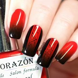 unhas decoradas vermelho e preto