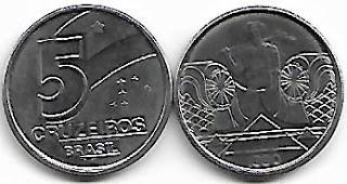 Moeda de 5 Cruzeiros, 1990
