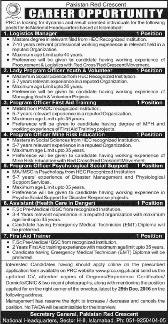 Pakistan Red Crescent Society Islamabad Jobs