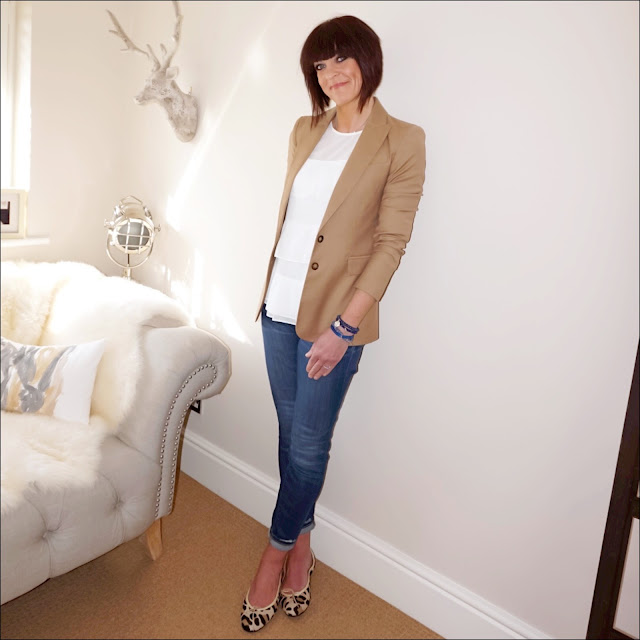 My Midlife Fashion, baukjen westbury blazer, marks and spencer ruffle round neck ¾ sleeve blouse, j crew skinny jeans, french sole leopard print ballet pumps