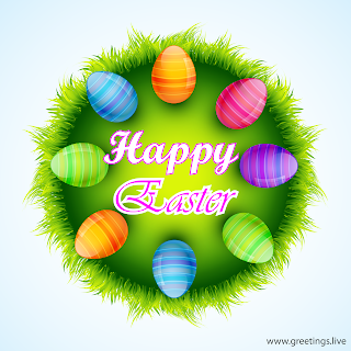 Happy Easter wishes  with beautiful eggs in Easter nest