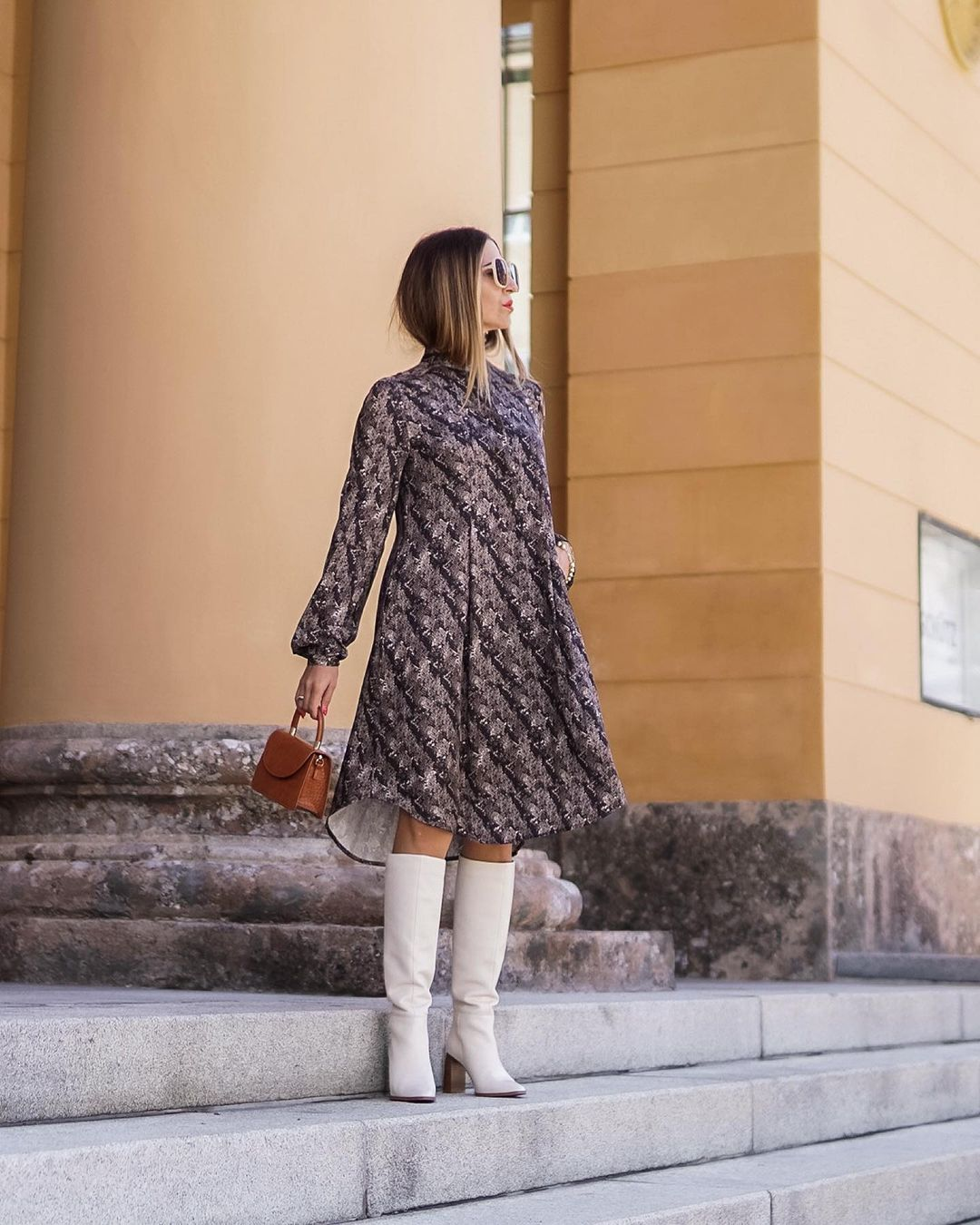 How to style a dress and white boots