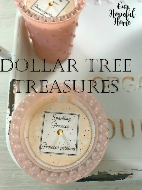 Dollar Tree pink hobnail candle holder sparkling proseco