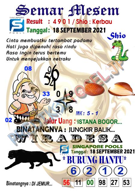 Syair Semar Mesem SGP Sabtu 18-Sep-2021
