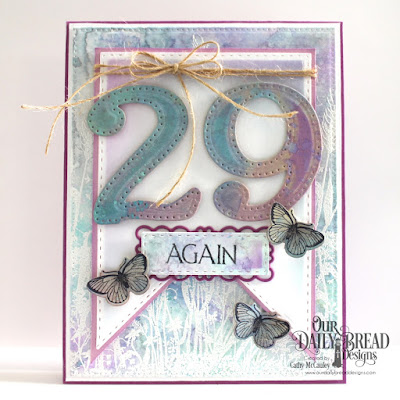 Our Daily Bread Designs Stamp Sets: Celebration, Wildflower Silhouette Background, Butterfly and Bugs, Custom Dies: Large Number, Pierced Rectangles, Double Stitched Rectangles, Double Stitched Squares, Filigree Frames, Butterfly and Bugs