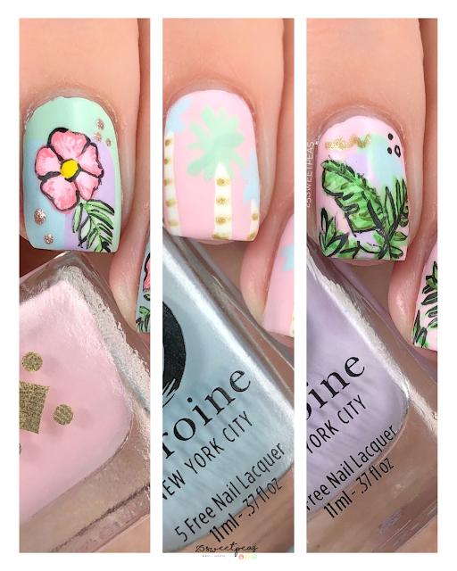 Tropical Pastel Nail Art
