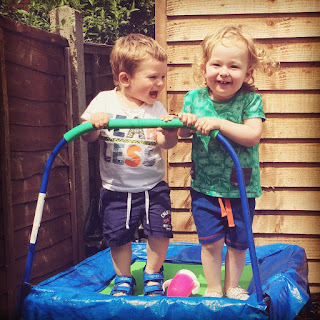 My Mummy Spam, sunshine and smiles, blog, parenting, mum motherhood, mother, trampoline, bouncing, friends, toddlers, garden, play, playing, friendship, girl, boy, baby, children, child, happy, happiness,