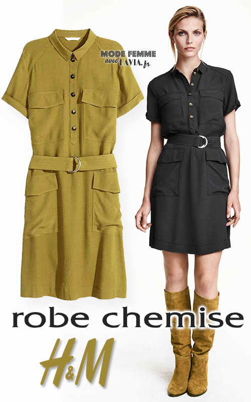 4ce6aec8072 Robe chemise boutonnée H M