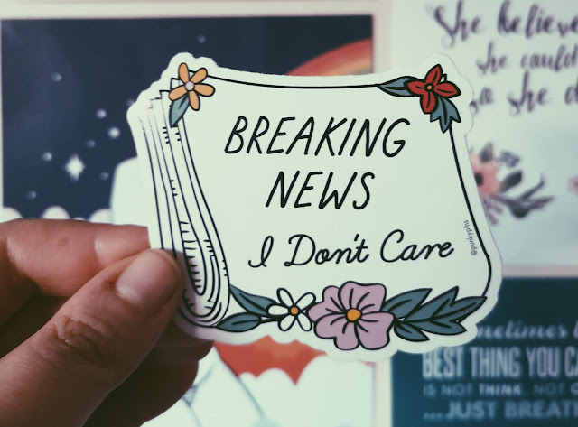 A picture of a Punky Pins Breaking News I Don't Care Sticker for a blog post on having a guilt free social media cleanse