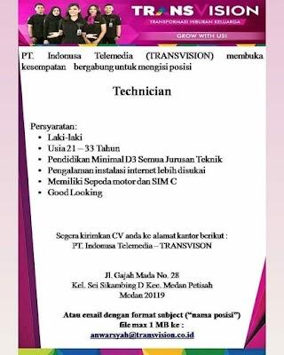 Teknisi di PT Indonusa Telemedia (Transvision)