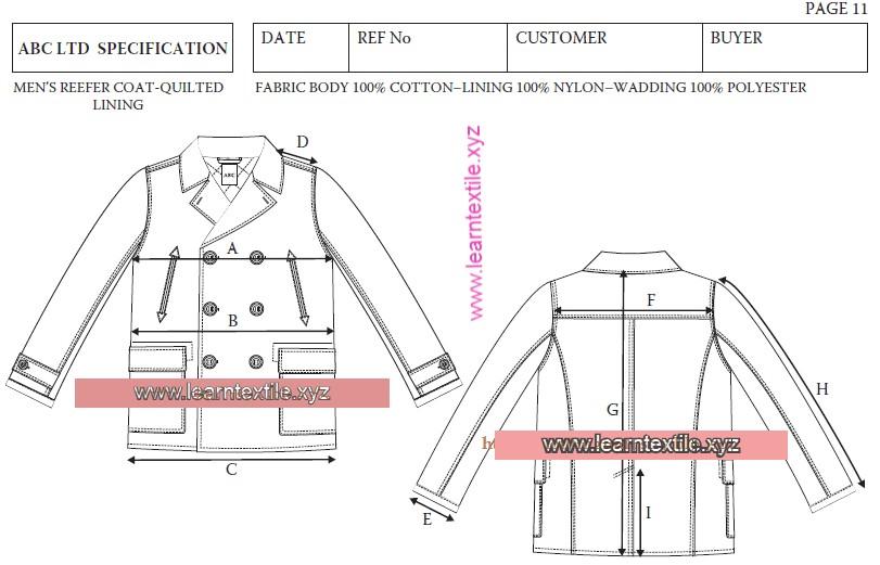Make Specification Sheet for Reefer Coat