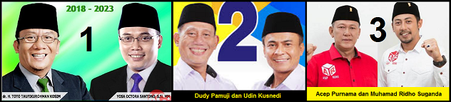 Tiga pasang calon Bupati dan wakil Bupati Kabupaten Kuningan 2018