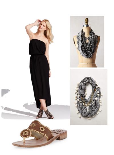 trendy in texas, blog, jack rogers, black maxi dress, strapless black maxi dress, tasseled necklace scarf, tasseled necklace scarf anthropologie, eyelet vines infinity scarf, anthropologie