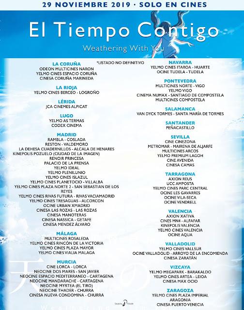 Listado de cines dónde ver El Tiempo Contigo (Weathering With You).