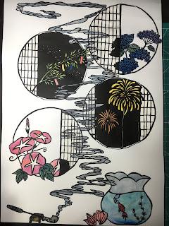 カラーの夏の切り絵