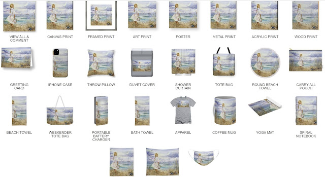 Girl And Ocean Painting on Merchandise Artist Irina Sztukowski.