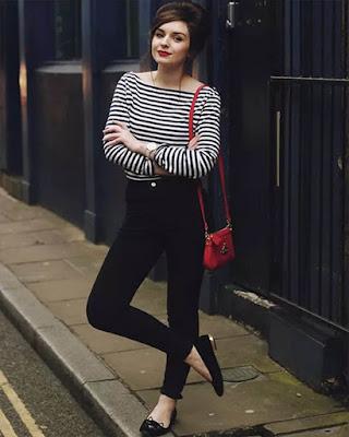 blusa con rayas blanco y negro casual