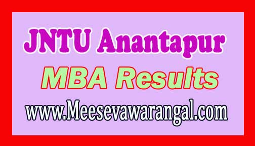 JNTU Anantapur MBA IV Semester(R09) Supplementary Examinations Results 2016