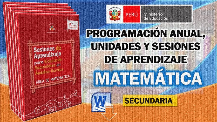programación anual unidades y sesiones de aprendizaje de matemática