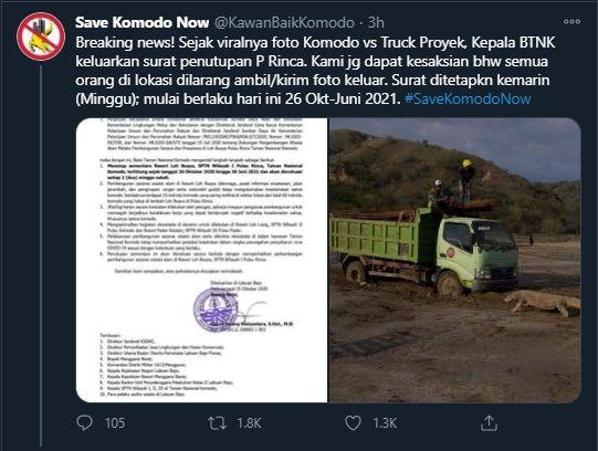 Foto Komodo Hadang Truk Viral, KLHK Tutup Akses Pulau Rinca dan Dilarang Ambil Foto